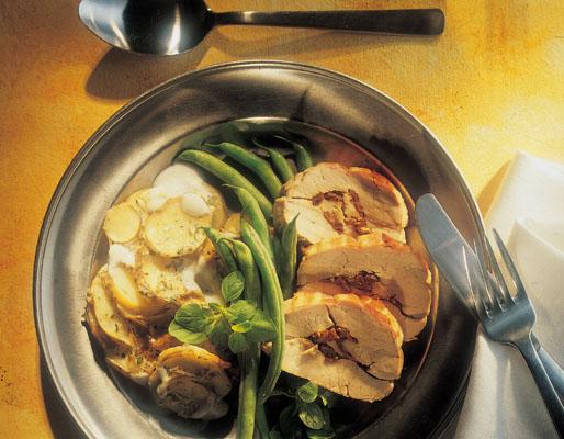 Fydt svinemørbrad og kartofler i bad