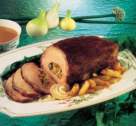 Glaseret svinekam med æble- og spinatfyld