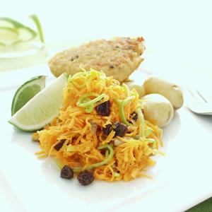 Krabbebøffer med lime og gulerodsråkost