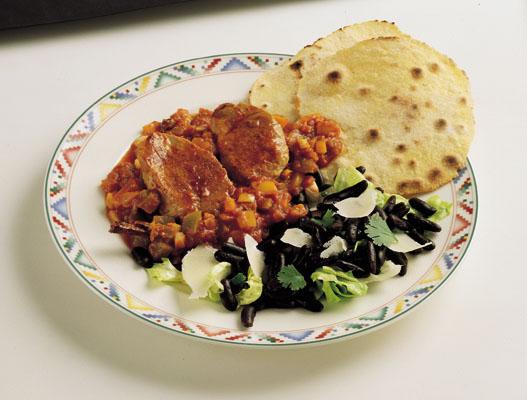 Mexikanske skinkemedailloner i chilipebersauce