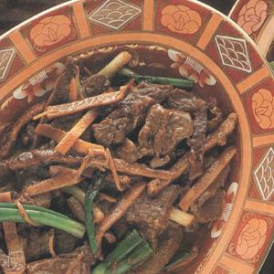 Oksekød med tørret mandarinskal
