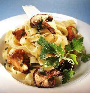 Pasta med svampe og peccorinoost