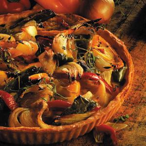 Quiche med peberfrugter og løg