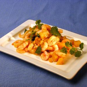 Rejer med tern af kartofler og karry og frisk koriander