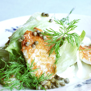 Rødfisk på salat med kapers og grøn dressing