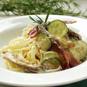 Spaghetti med bacon og østershatte