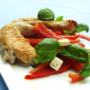 Stegt kylling med peberfrugt og chili