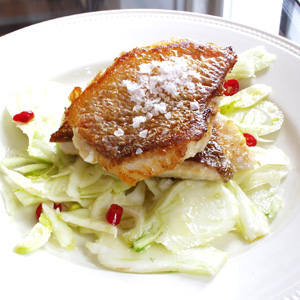 Stegt rødfisk med fennikelsalat og chili