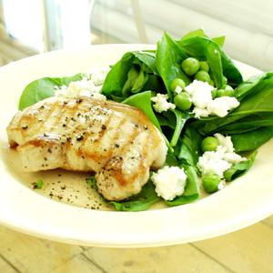 Svinekotelet med spinat og fetaost