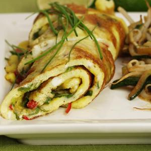 Thai-omelet med bønnespirer og squash