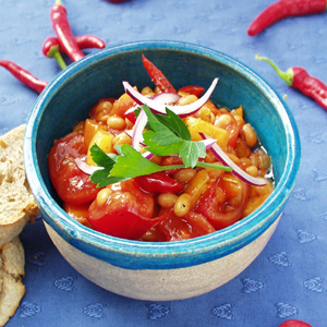 Vegetarisk chili med bønner og kartofler
